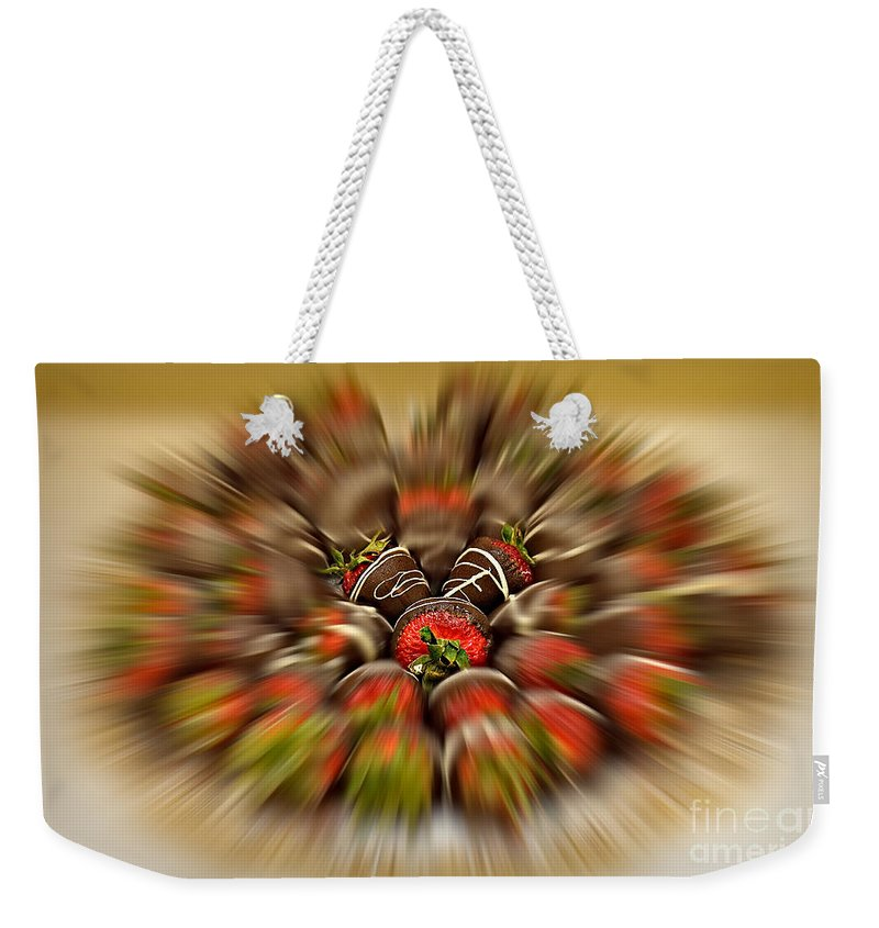 Strawberry Weekender Tote Bag featuring the photograph Chocolate Strawberry Rush by Susan Candelario