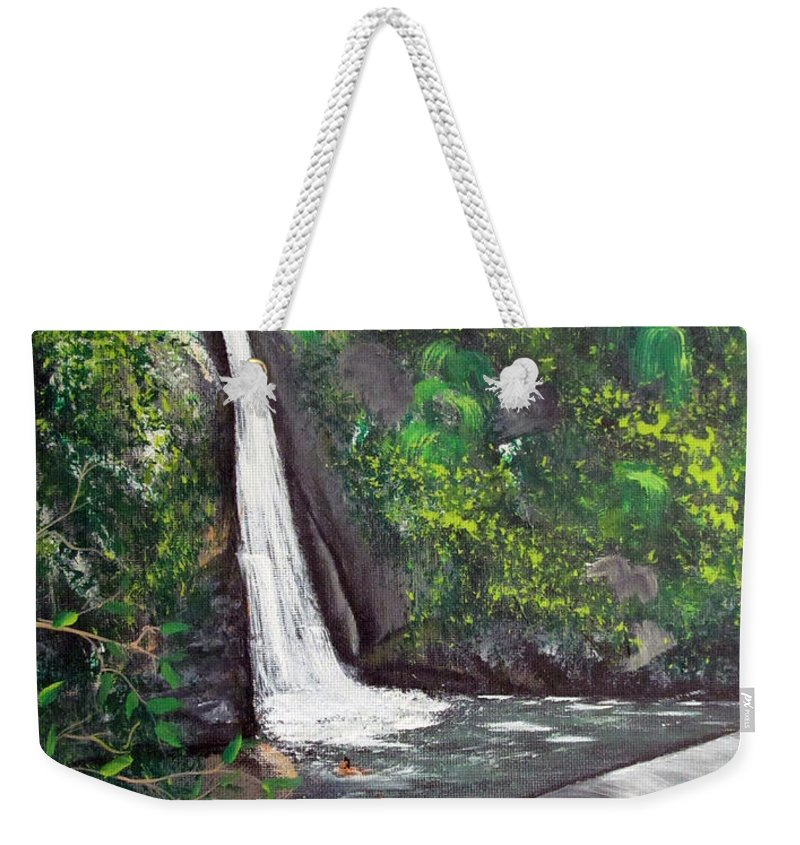 Waterfall Weekender Tote Bag featuring the painting Chorro De Dona Juana by Gloria E Barreto-Rodriguez