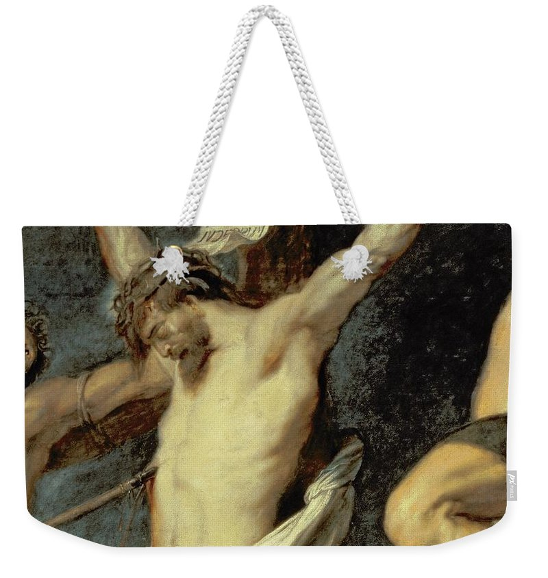 Jesus Weekender Tote Bag featuring the painting Christ Between The Two Thieves, 1620 by Peter Paul Rubens