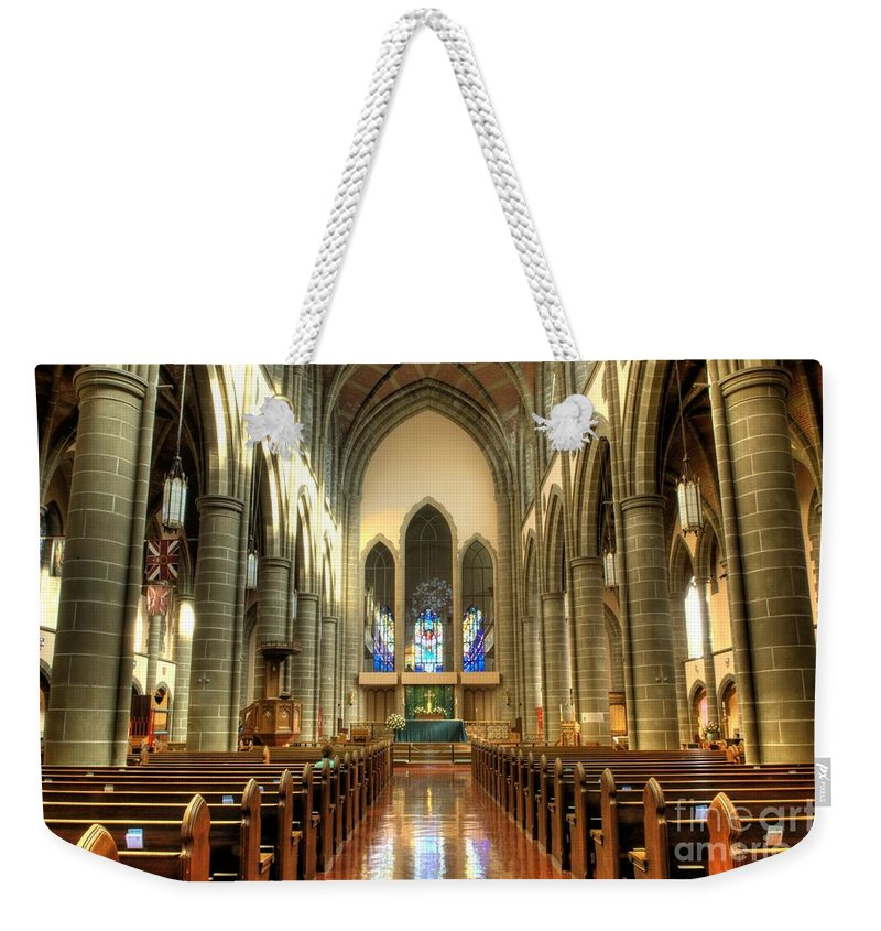Cathedral Weekender Tote Bag featuring the photograph Christ Church Cathedral Victoria British Columbia by Bob Christopher