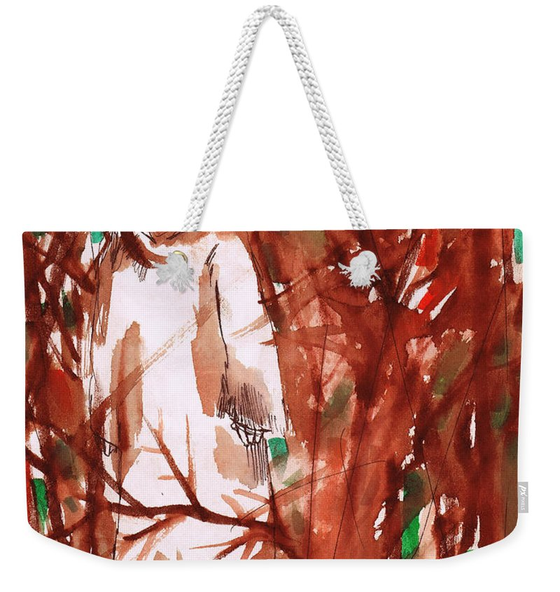 Christ In The Garden Weekender Tote Bag featuring the painting Christ In The Forest by Seth Weaver