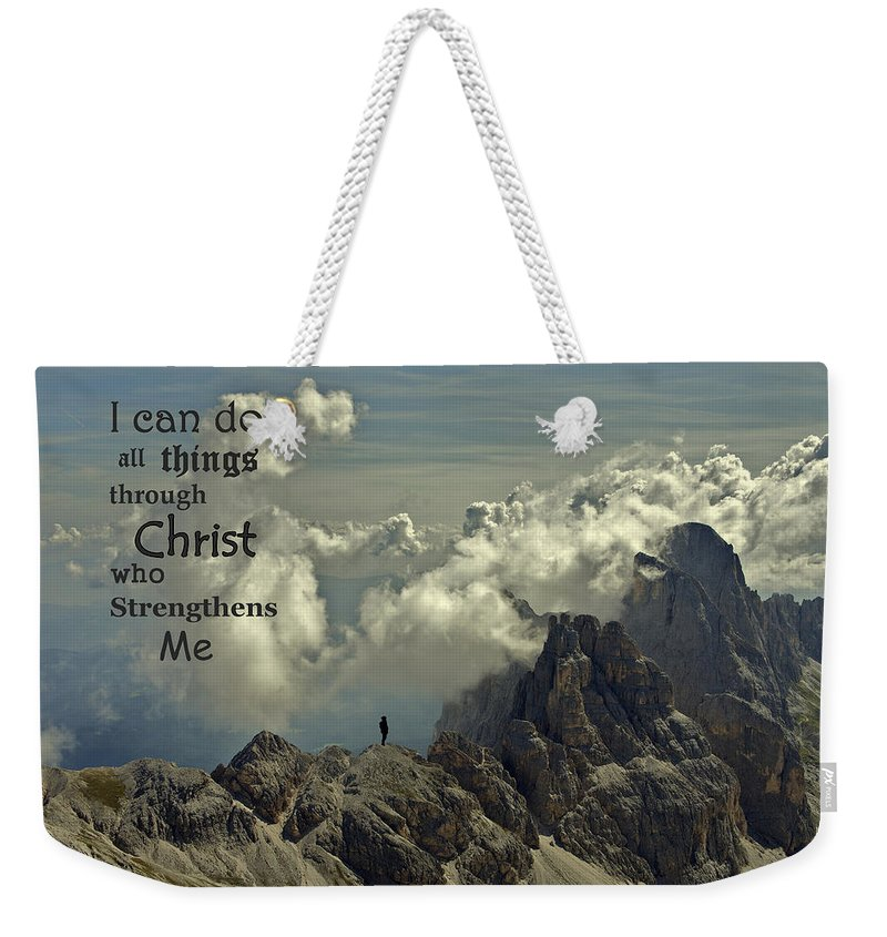 Christ Weekender Tote Bag featuring the photograph Christ Strengthens Me by Movie Poster Prints