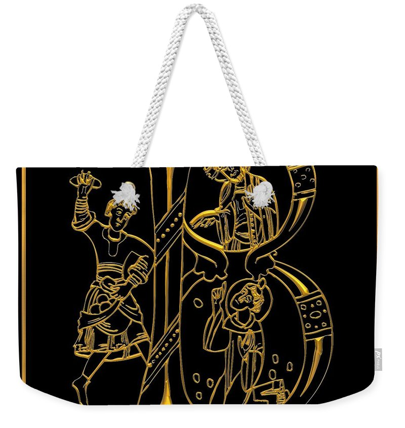 The Letter B Weekender Tote Bag featuring the digital art Christian Initial Letter B by Rose Santuci-Sofranko