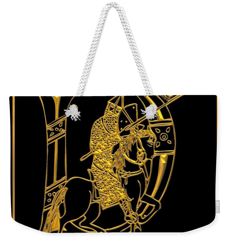 The Letter D Weekender Tote Bag featuring the digital art Christian Initial Letter D by Rose Santuci-Sofranko
