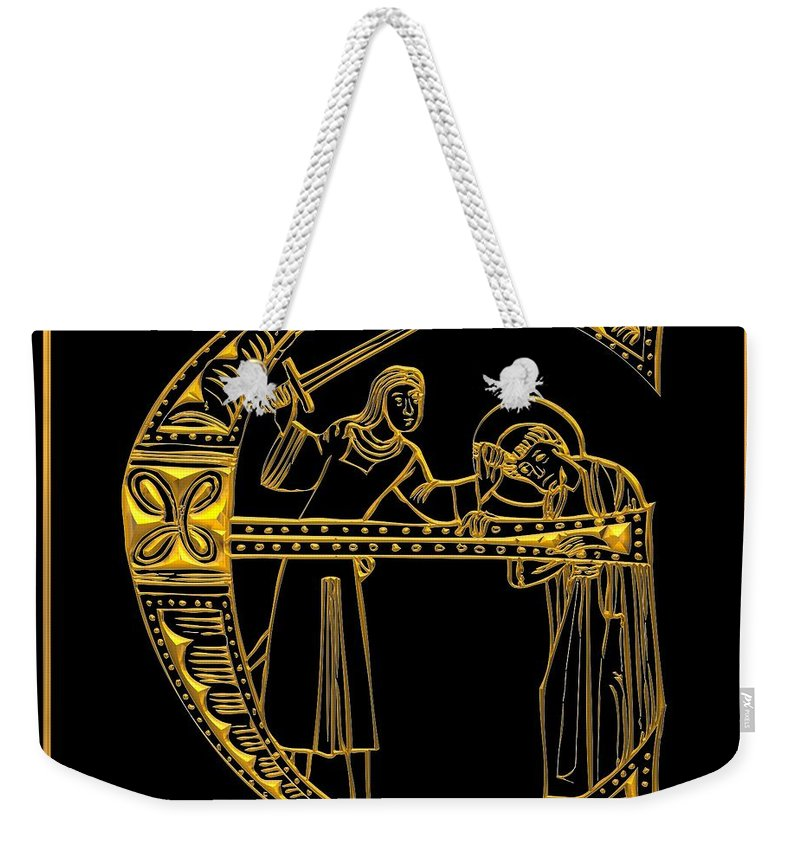 The Letter E Weekender Tote Bag featuring the digital art Christian Initial Letter E by Rose Santuci-Sofranko