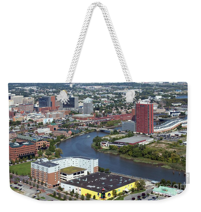 Aerial Weekender Tote Bag featuring the photograph Christina Riverfront by Bill Cobb