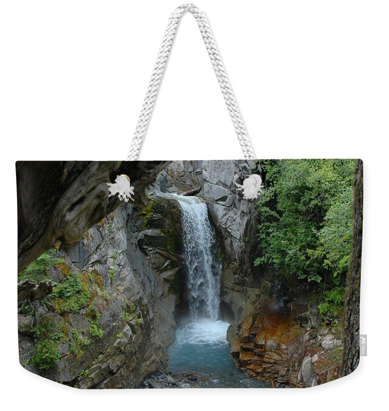 Christin Falls Weekender Tote Bag featuring the photograph Christine Falls by Joan Wallner
