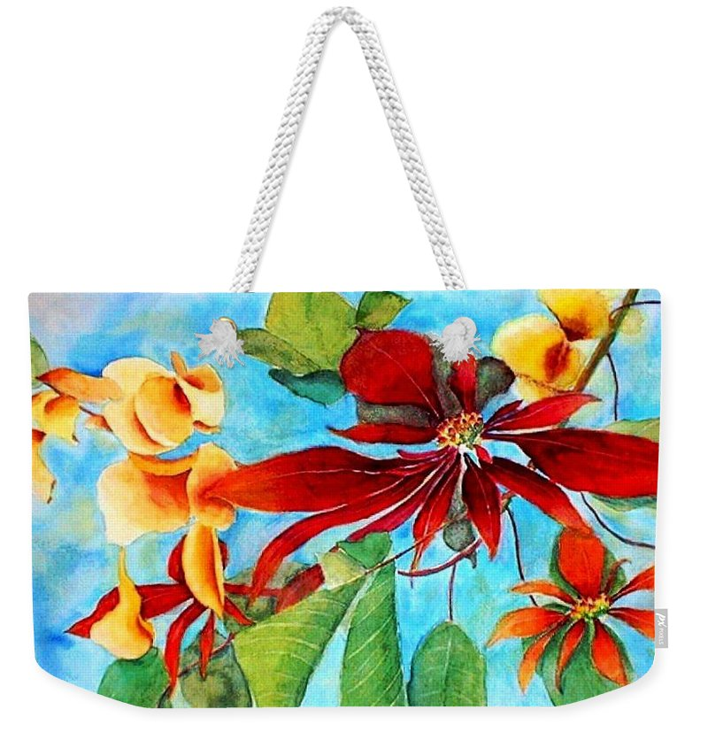 Watercolor Weekender Tote Bag featuring the painting Christmas All Year Long by Debbie Lewis