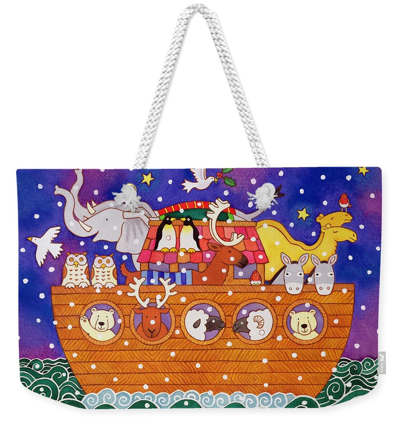 Animals Weekender Tote Bag featuring the painting Christmas Ark by Cathy Baxter