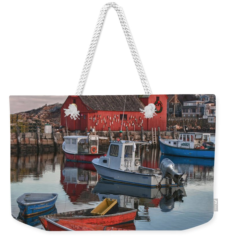 Motif Number One Rockport Lobster Shack By Jeff Folger Weekender Tote Bag featuring the photograph Christmas At Motif1 Rockport Massachusetts by Jeff Folger