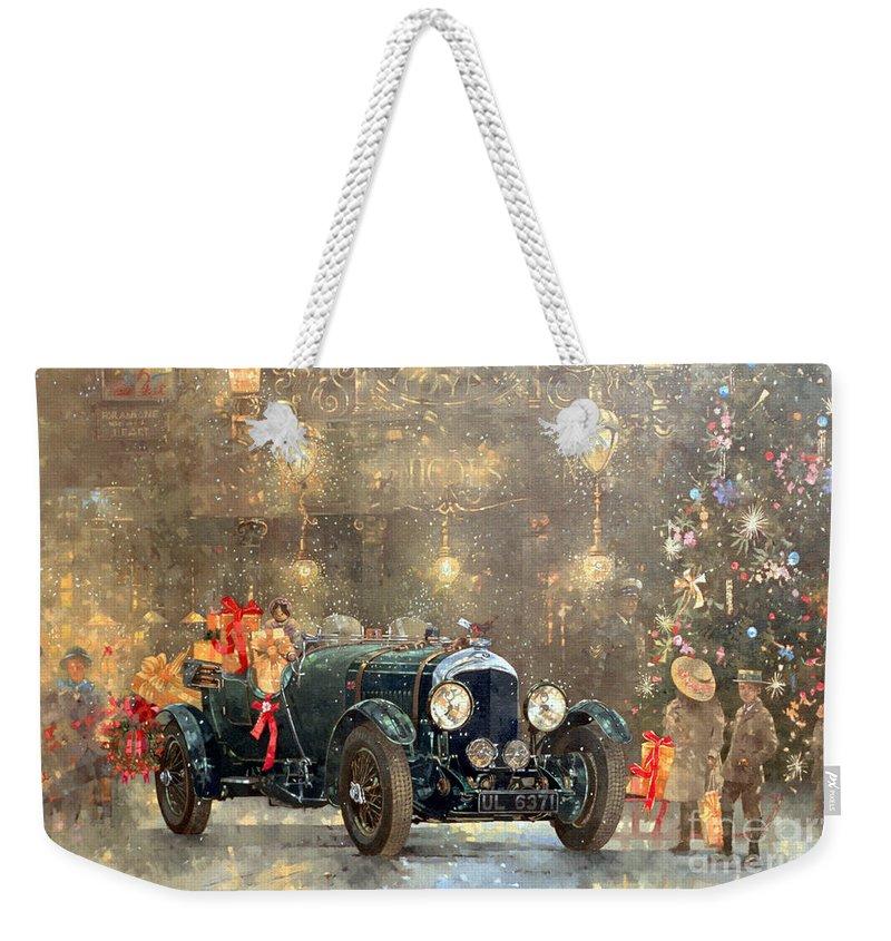 Motor Car Weekender Tote Bag featuring the painting Christmas Bentley by Peter Miller