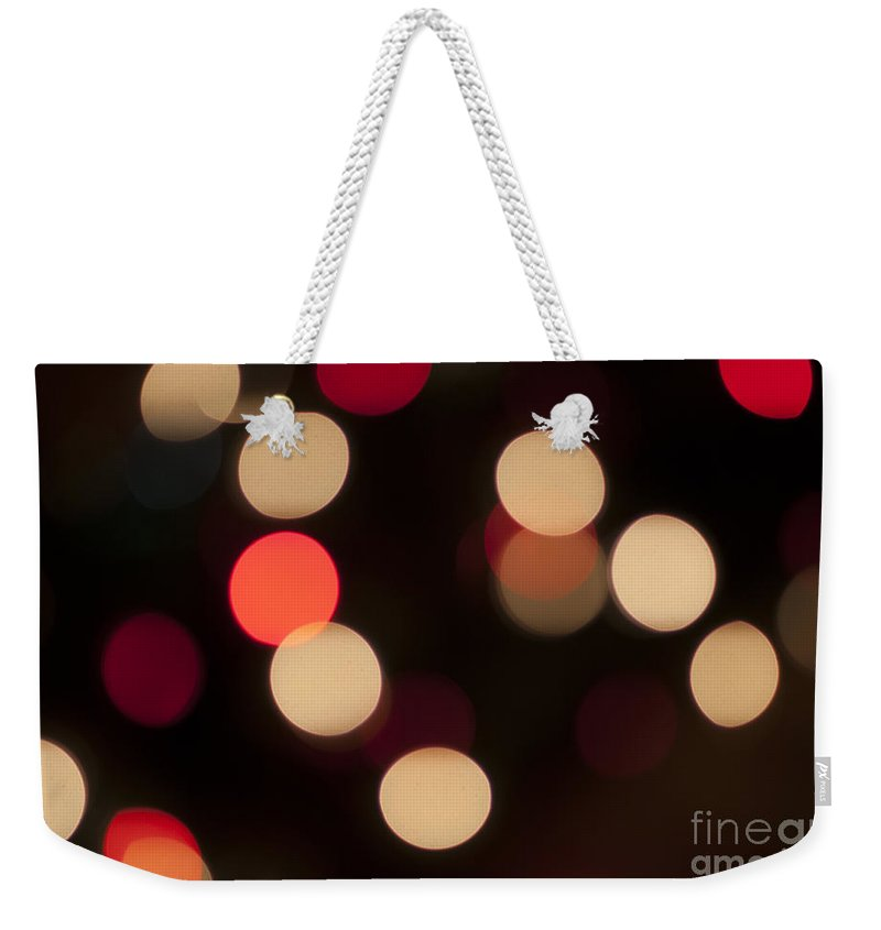 Celebrate Weekender Tote Bag featuring the photograph Christmas Bokeh Lights by Juli Scalzi