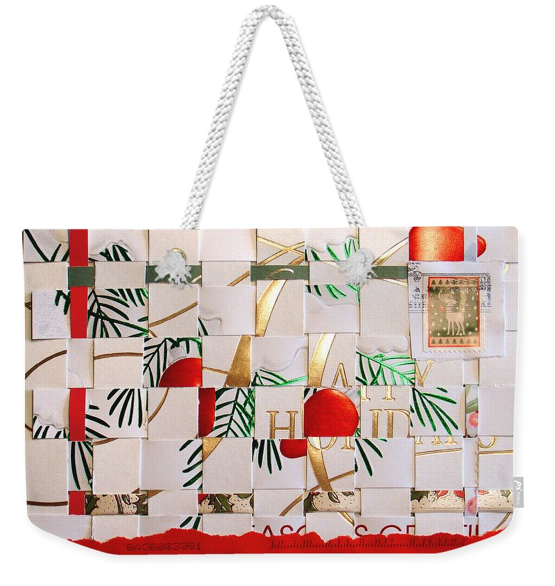 Christmas Weekender Tote Bag featuring the mixed media Christmas Card Abstract by Steve Karol