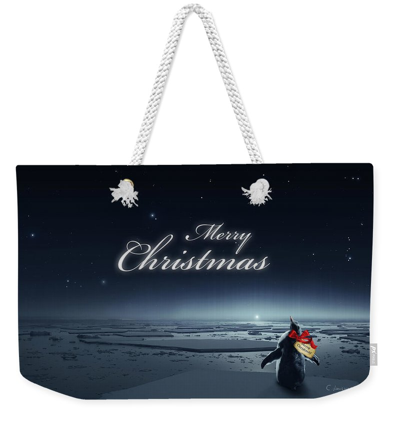 Happy Christmas Weekender Tote Bag featuring the digital art Christmas Card - Penguin Black by Cassiopeia Art