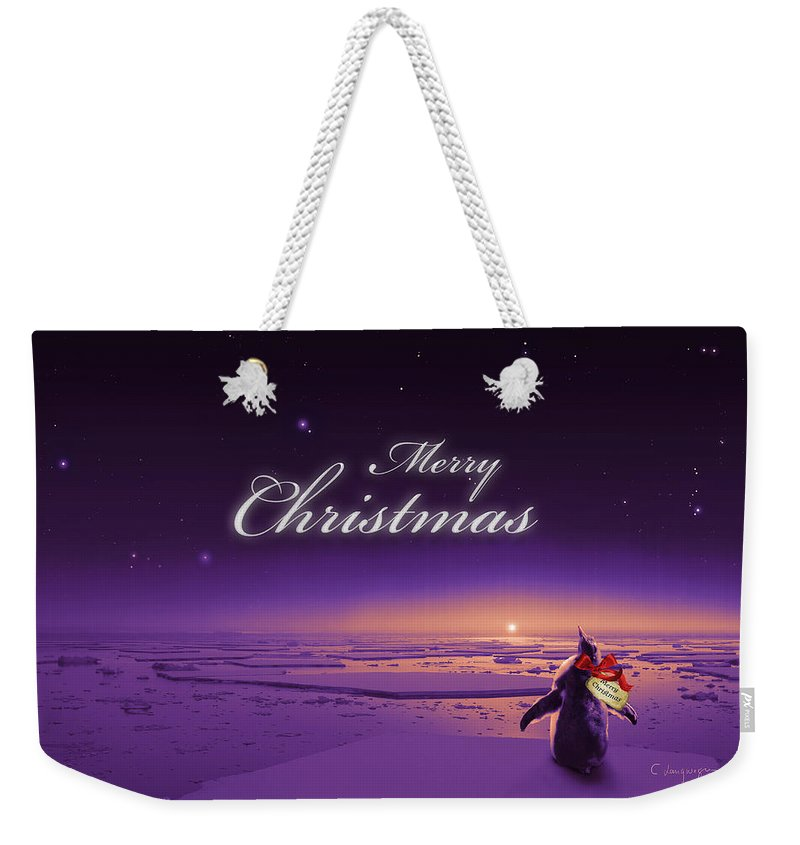 Happy Christmas Weekender Tote Bag featuring the digital art Christmas Card - Penguin Purple by Cassiopeia Art