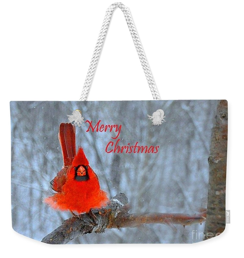 Nature Weekender Tote Bag featuring the photograph Christmas Red Cardinal by Nava Thompson