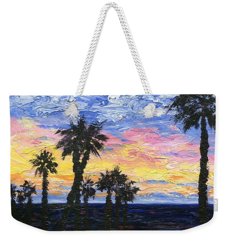 Sunset Weekender Tote Bag featuring the painting Christmas Eve In Redondo Beach by Jamie Frier