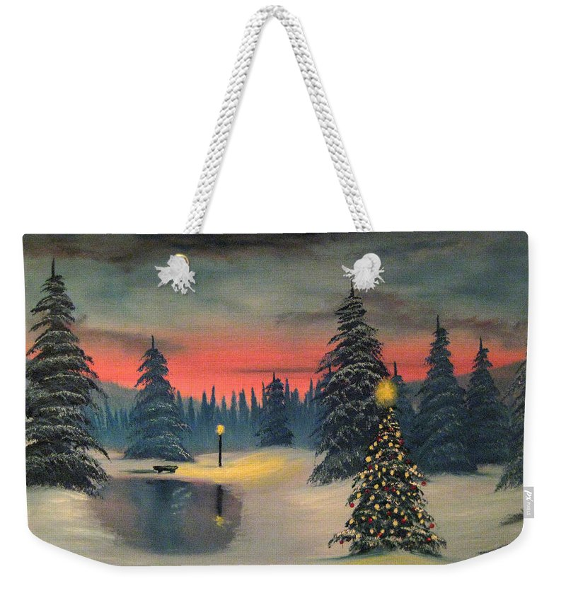 Christmas Weekender Tote Bag featuring the painting Christmas Eve by Nick Robinson