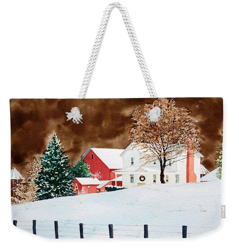 Christmas Weekender Tote Bag featuring the painting Christmas Farm by Jim Gerkin