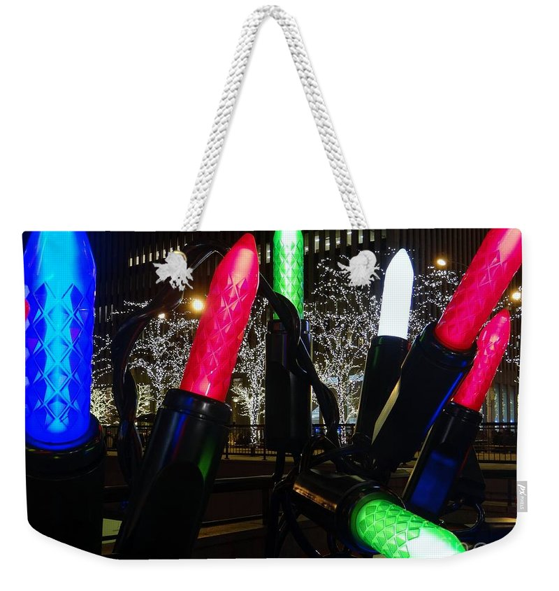 New York Weekender Tote Bag featuring the photograph Christmas Lights by Ed Weidman