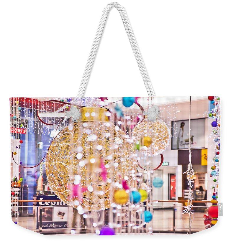 Merry Christmas Weekender Tote Bag featuring the photograph Christmas Lights V2 by Alex Art and Photo