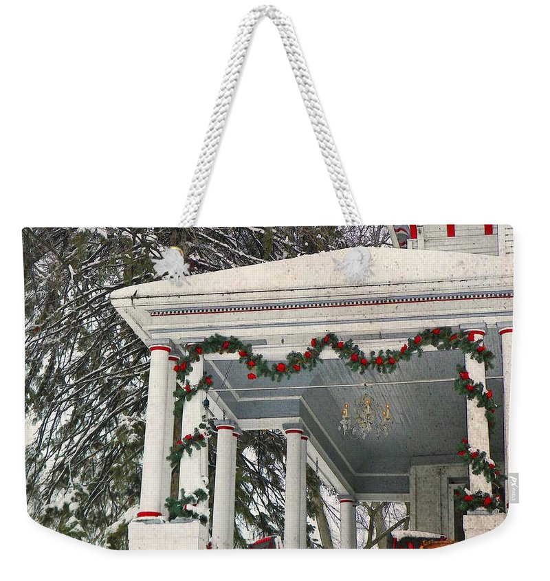 Christmas Weekender Tote Bag featuring the photograph Christmas On The Veranda by Chris Berry