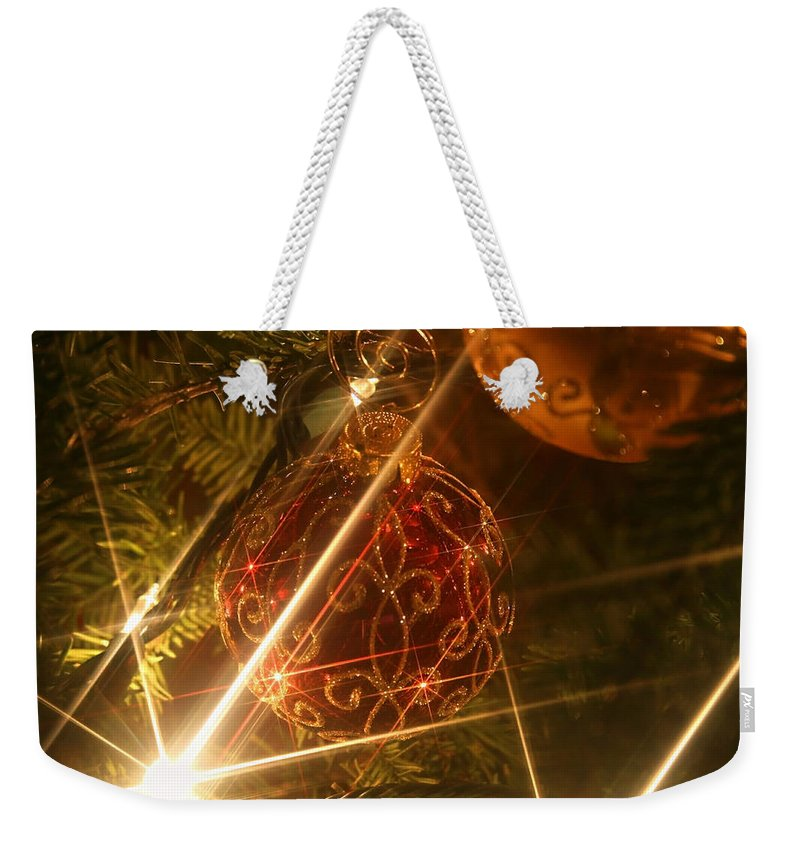 Christmas Ornaments Weekender Tote Bag featuring the photograph Christmas Ornaments 1 by Ellen Henneke