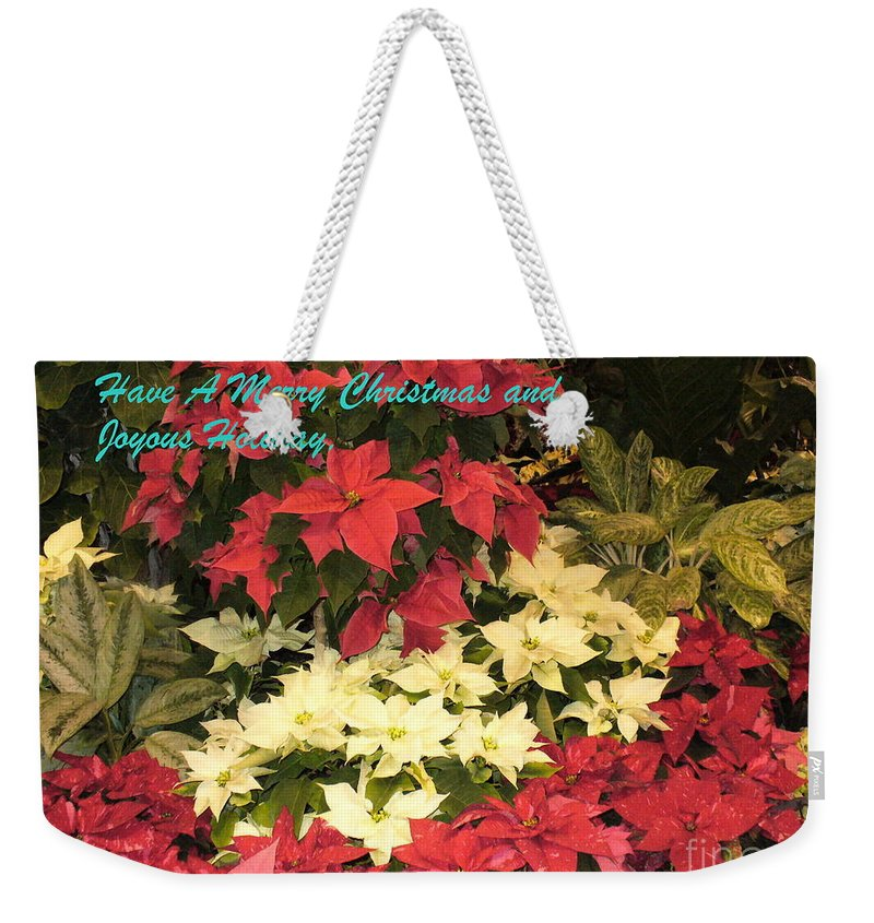 Flower Photograph Weekender Tote Bag featuring the photograph Christmas Poinsettias by Lingfai Leung