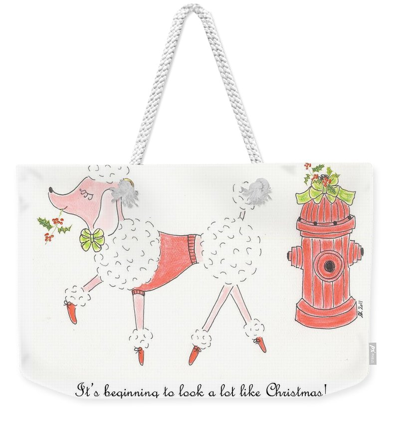 Poodle Weekender Tote Bag featuring the painting Christmas Poodle by Stephanie Grant