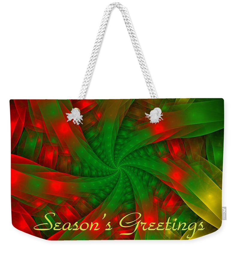 Holiday Card Weekender Tote Bag featuring the digital art Christmas Ribbons by Sandy Keeton