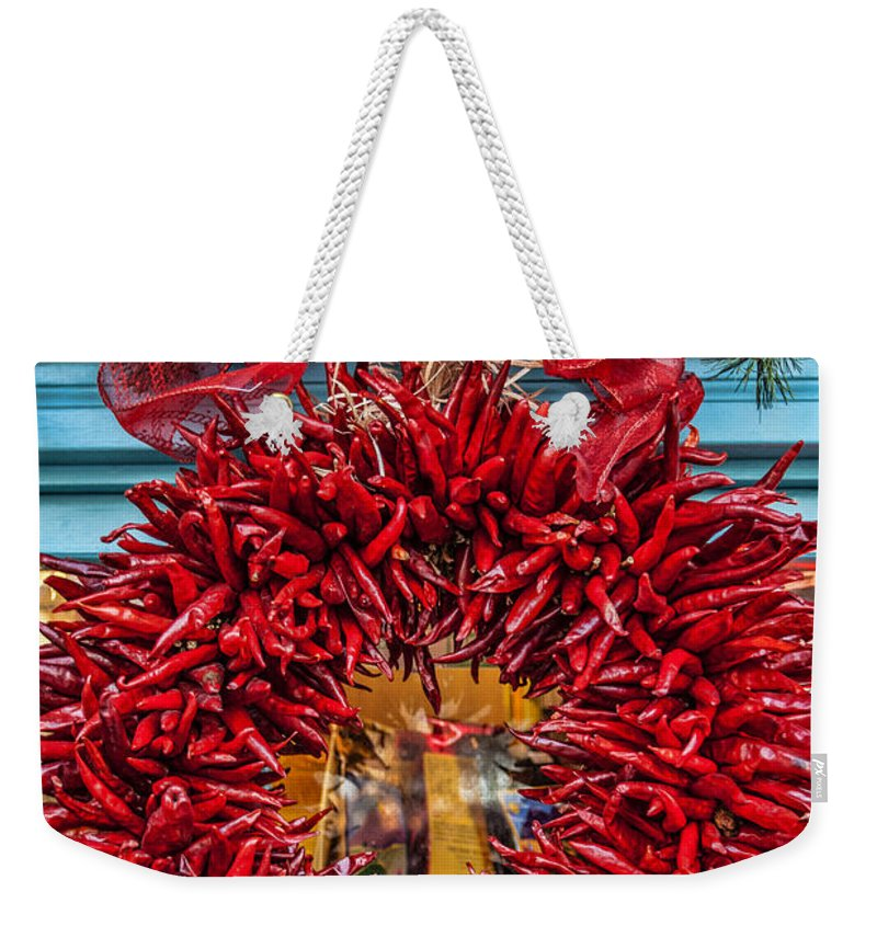 Old Town Albuquerque Weekender Tote Bag featuring the photograph Christmas Ristra by Diana Powell