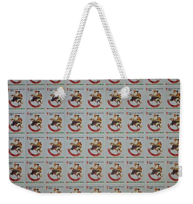 Rocking Horse Weekender Tote Bag featuring the photograph Christmas Seals 1981 by Rich Walter