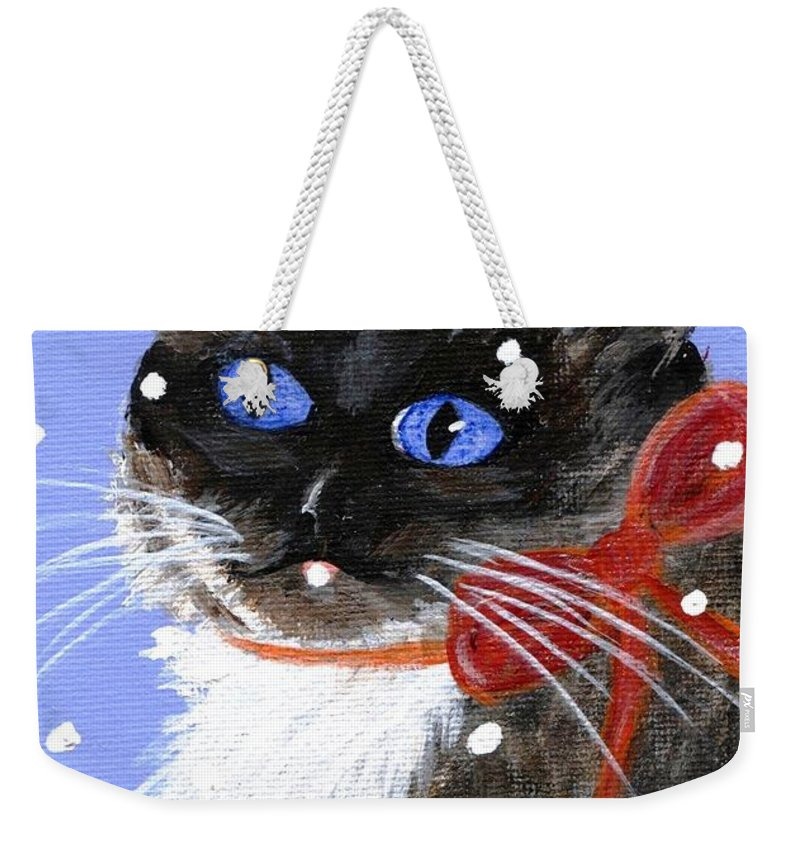 Christmas Weekender Tote Bag featuring the painting Christmas Siamese by Jamie Frier