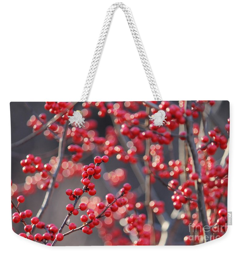 Red Weekender Tote Bag featuring the photograph Christmas Sparkles by Ulli Karner