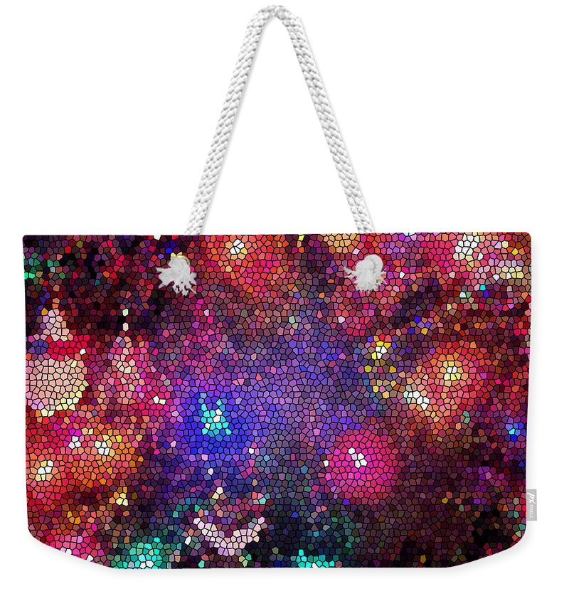 Christmas Weekender Tote Bag featuring the photograph Christmas Stained Glass by Nancy Mueller