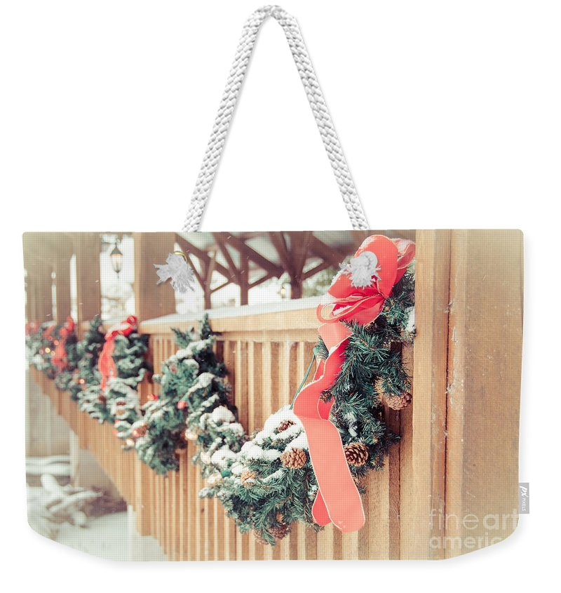 Weekender Tote Bag featuring the photograph Christmas Swag by Cheryl Baxter