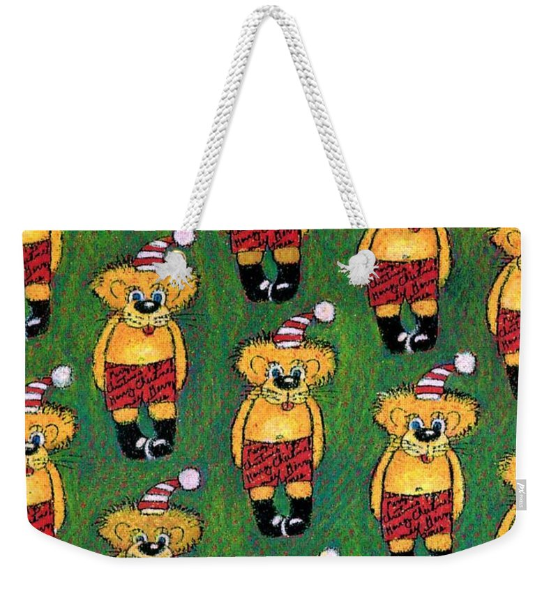 Christmas Weekender Tote Bag featuring the drawing Christmas Teddies by Genevieve Esson