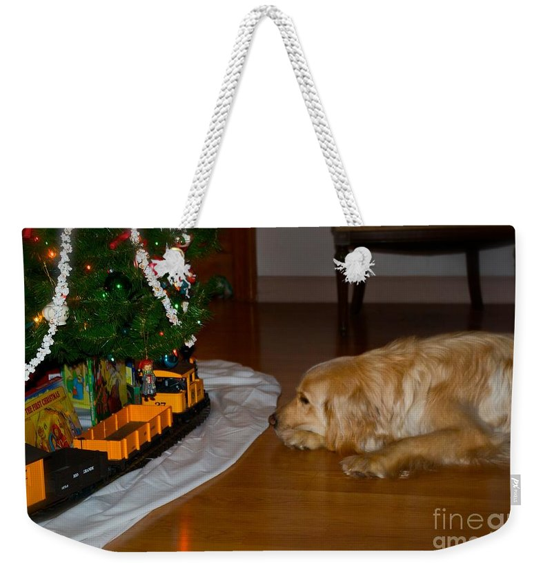 Christmas Cards Weekender Tote Bag featuring the photograph Christmas Train by Frank J Casella
