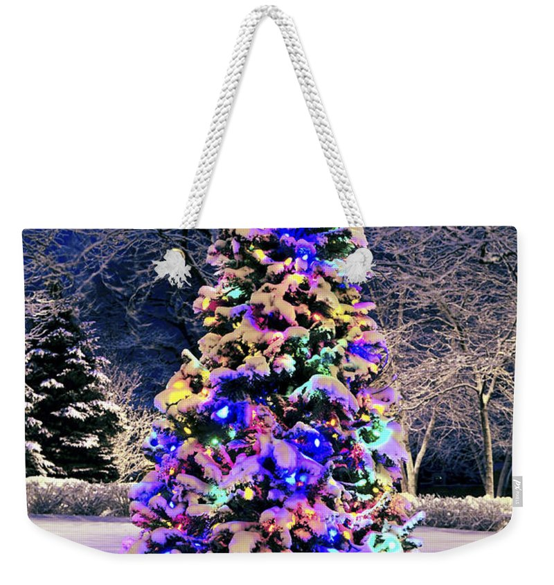 Christmas Weekender Tote Bag featuring the photograph Christmas Tree In Snow by Elena Elisseeva