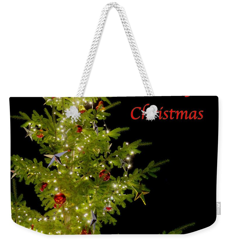 Christmas Weekender Tote Bag featuring the photograph Christmas Tree Lighting by Jim And Emily Bush