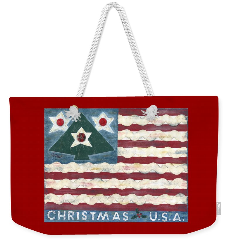Christmas Weekender Tote Bag featuring the mixed media Christmas U.s.a. by Carol Neal
