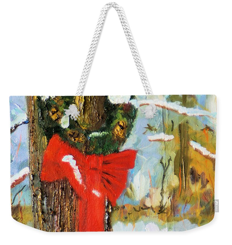 Impressionistic Christmas Holiday Card Weekender Tote Bag featuring the painting Christmas Wreath by Michael Daniels