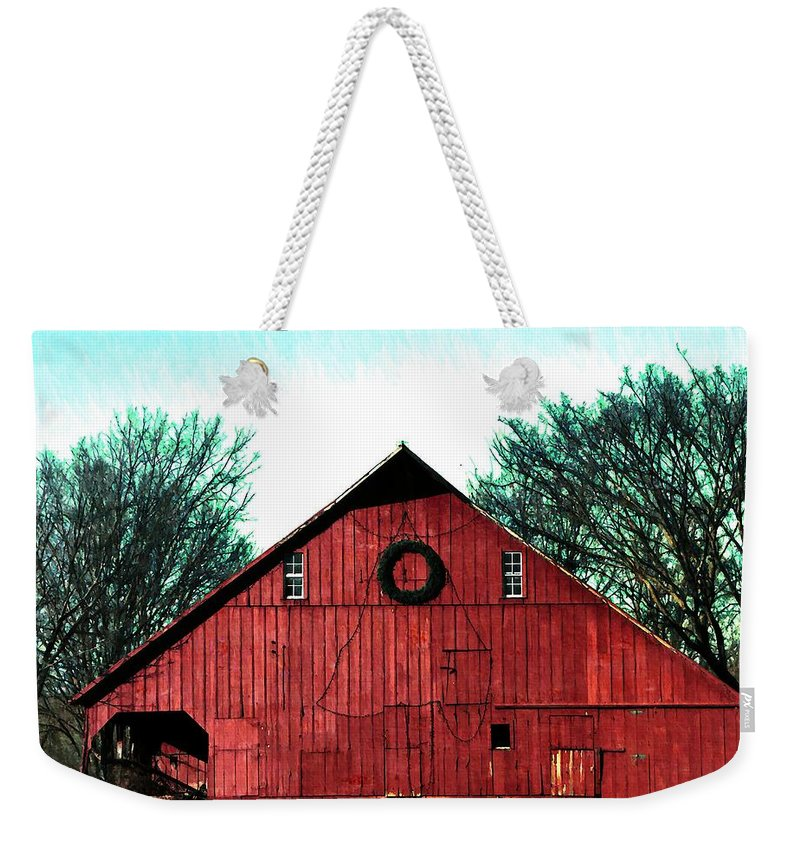 Barn Weekender Tote Bag featuring the photograph Christmas Wreath On Red Barn by Chris Berry