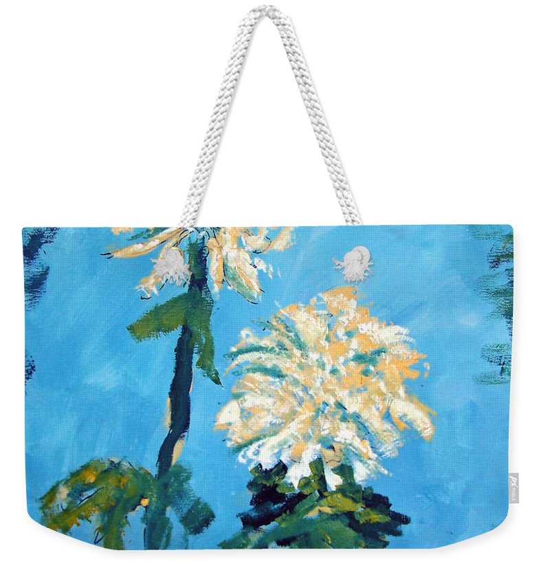 Flower Weekender Tote Bag featuring the painting Chrysanthemum Floral by Patricia Taylor