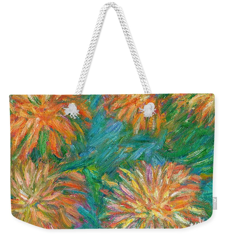 Floral Weekender Tote Bag featuring the painting Chrysanthemum Shift by Kendall Kessler