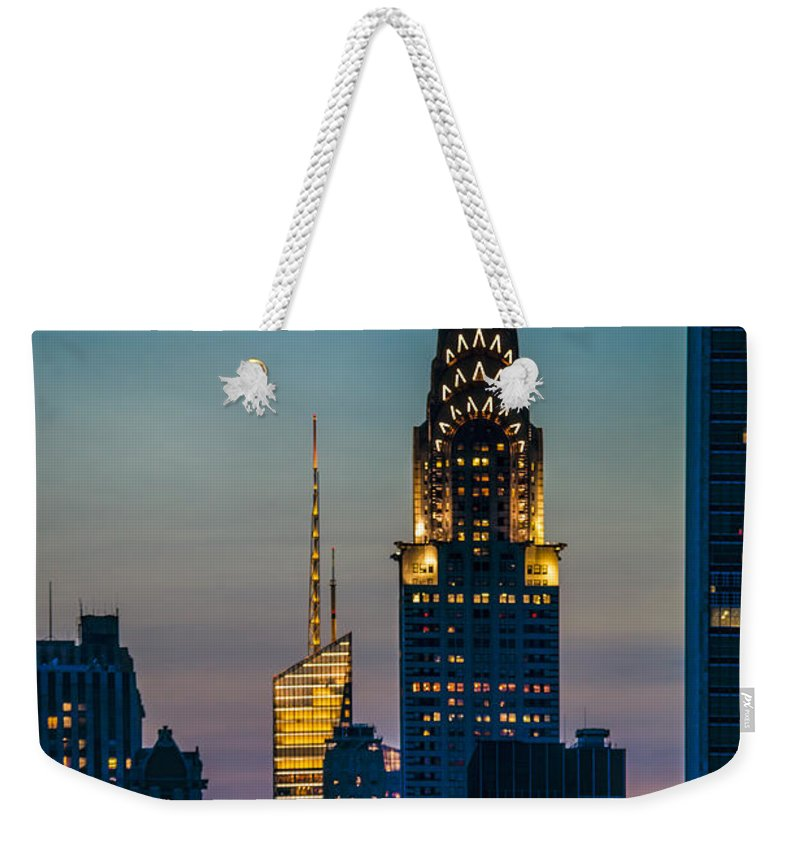 Forty Second Street Weekender Tote Bag featuring the photograph Chrysler Building At Sunset by Chris Lord