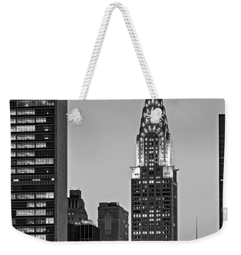 42nd Street Weekender Tote Bag featuring the photograph Chrysler Building New York City Bw by Susan Candelario