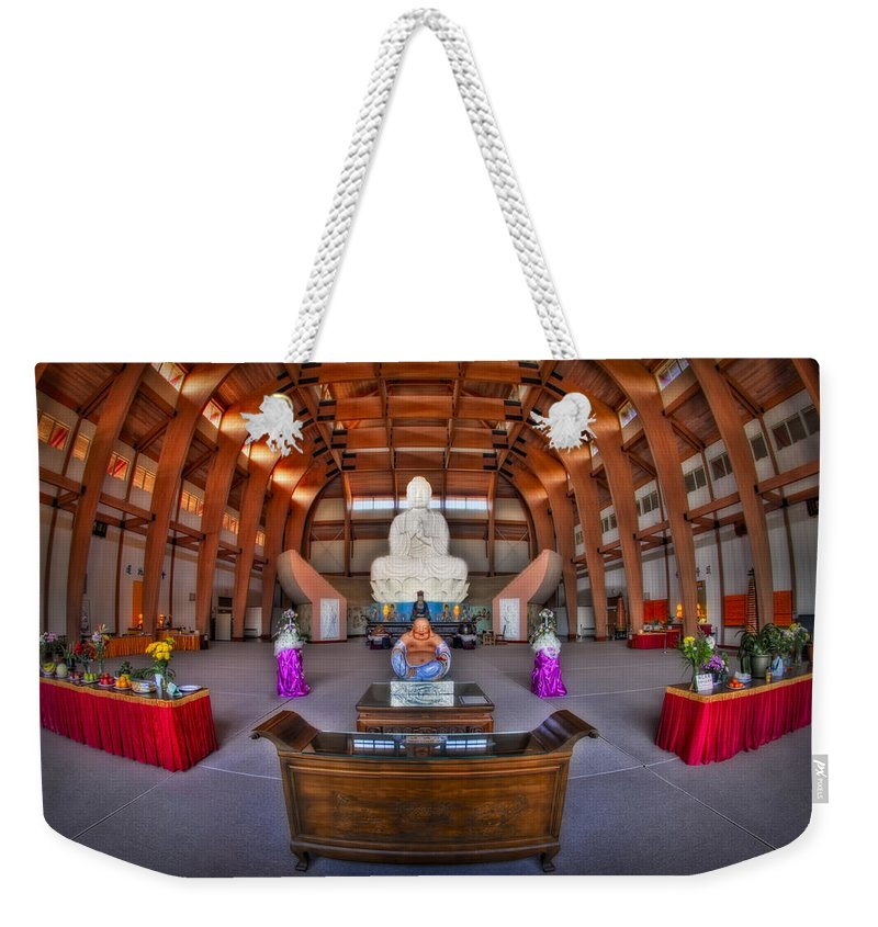 Budda Weekender Tote Bag featuring the photograph Chuang Yen Buddhist Monastery by Susan Candelario