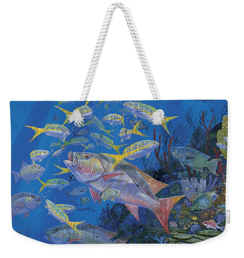Mutton Snapper Weekender Tote Bag featuring the painting Chum Line Re0013 by Carey Chen