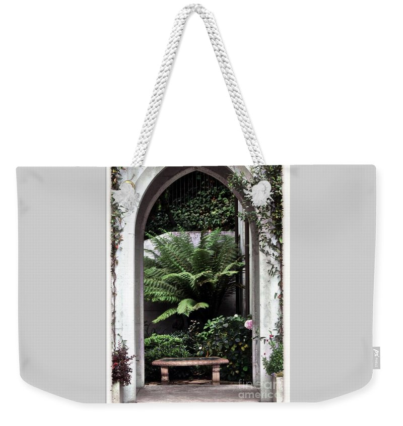 Courtyard.bench Weekender Tote Bag featuring the photograph Church Courtyard by Kathleen Struckle